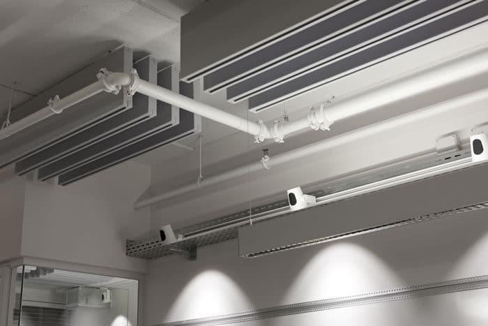 תקרה פתוחה בעלת רבדים שונים כגון תעלות תקרה, תאורה, אקוסטיקה וכו'