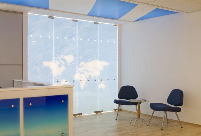עיצוב פינת המתנה במשרדים של חברת תעופה