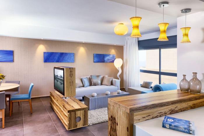 עיצוב ביופילי לדירה לדוגמא בהשראת הים