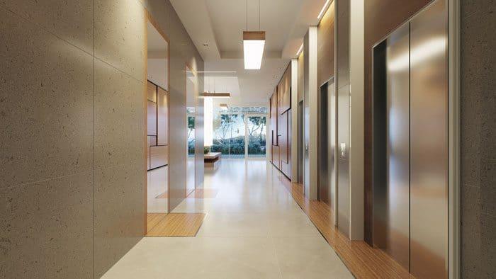 עיצוב לובי בניין מגורים באזור המעליות