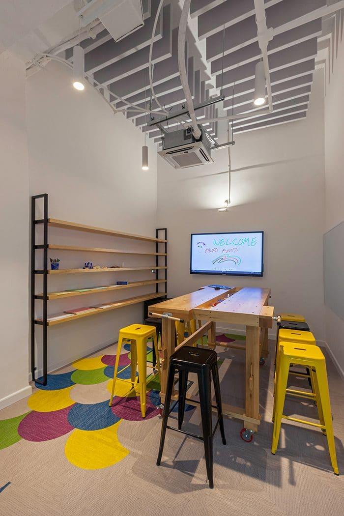עיצוב חדר רעיונות עם שולחן בר במרכז חדשנות