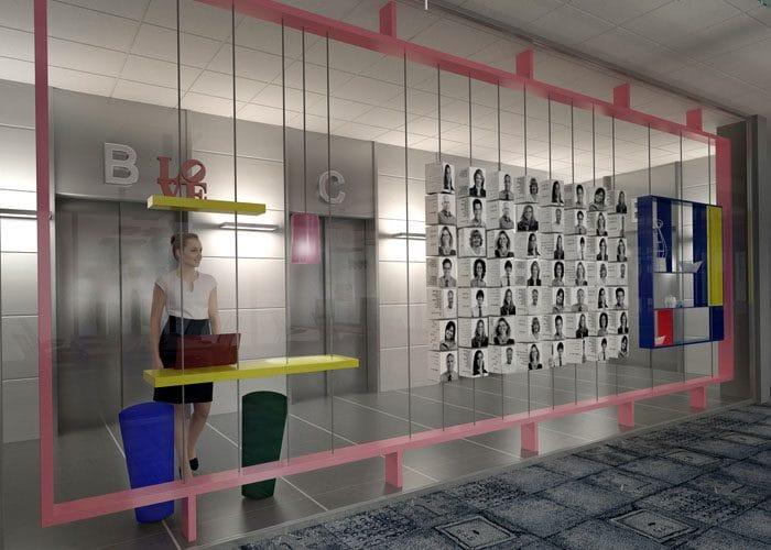 עיצוב לובי מעליות של משרדי הייטק עם בלוג פיזי