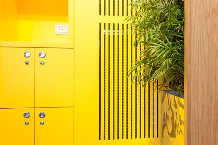 פרט ארון מטבחון צהוב משולב עם קיר ירוק