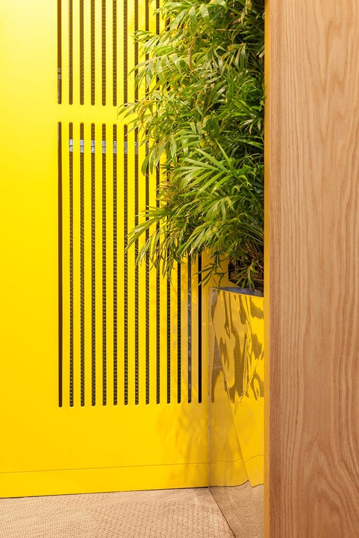 עיצוב מטבחון עם ארון צהוב וקיר ירוק
