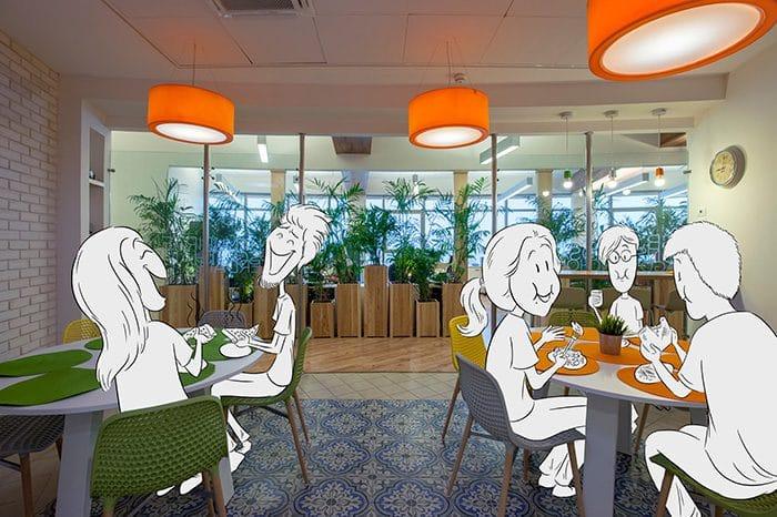 עיצוב משרדים עם קפטריה צבעונית ומזמינה לגיבוש קהילת עובדים