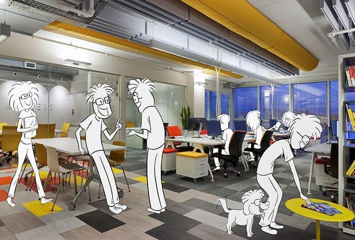 עיצוב תקרה חשופה ועמדות עבודה באופן ספייס עם חללים לפגישות אקראיות שיוצרות שיתוף ומגבשות קהילה