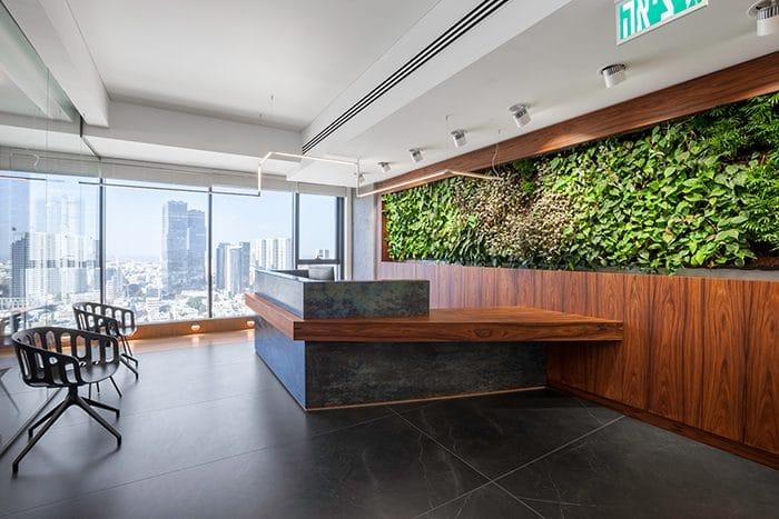 דלפק כניסה עם קיר ירוק