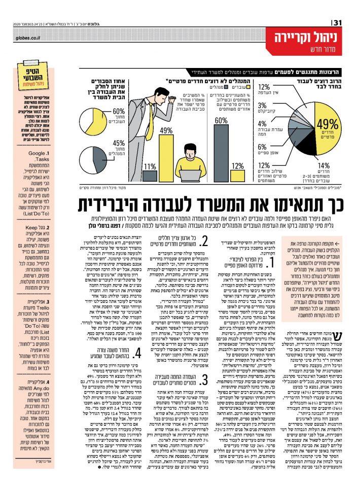 כתבה בגלובס על סקר עמדות עובדים ומנהלים